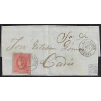 HUELVA. 1864. ESPAÑA. SPAIN. 4 CUARTOS. ED. 64. CARTAYA A CADIZ.