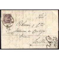 HUELVA. 1869. ESPAÑA. SPAIN. 50 MILS. ED. 98. HUELVA A SEVILLA.