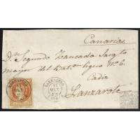 HUESCA. 1861. ESPAÑA. SPAIN. 4 CUARTOS. ED. 52. BARBASTRO A LANZAROTE.