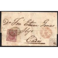 HUELVA. 1855. ESPAÑA. SPAIN. 4 CUARTOS. ED. 33A. CARTAYA A CADIZ.