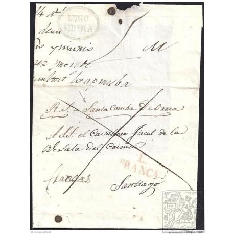 S/F. CIRCA 1830. ESPAÑA. SPAIN. SANTA COMBA DE ORREA A SANTIAGO.