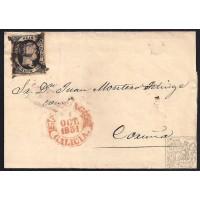 LA CORUÑA. 1851. ESPAÑA. SPAIN. 6 CUARTOS. ED. 6. SANTIAGO A CORUÑA.