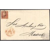 LA CORUÑA. 1852. ESPAÑA. SPAIN. 6 CUARTOS. ED. 12P. CORUÑA A MADRID.