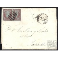 LA CORUÑA. 1855. ESPAÑA. SPAIN. 4 CUARTOS. ED. 40 (2). SANTIAGO A PUEBLA.