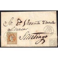 LUGO. 1861. ESPAÑA. SPAIN. 4 CUARTOS. ED. 52. MONDOÑEDO A SANTIAGO.