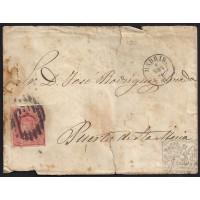 MADRID. 1864. ESPAÑA. SPAIN. 4 CUARTOS. ED. 64F. FALSO POSTAL. MADRID A PUERTO DE SANTA MARIA.