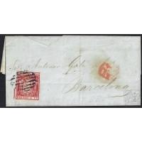 MALAGA. 1854. ESPAÑA. SPAIN. 6 CUARTOS. ED. 24. MALAGA A BARCELONA.