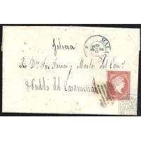 MALAGA. 1856. ESPAÑA. SPAIN. 4 CUARTOS. ED. 48. MALAGA A PUEBLA DEL CARAMIÑAL.