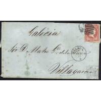 MALAGA. 1857. ESPAÑA. SPAIN. 4 CUARTOS. ED. 48. MALAGA A VILLAGARCIA.