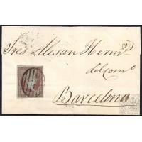 MALAGA. 1855. ESPAÑA. SPAIN. 4 CUARTOS. ED. 40. VELEZ-RUBIO A BARCELONA.