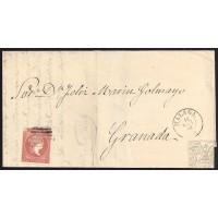 MALAGA. 1858. ESPAÑA. SPAIN. 4 CUARTOS. ED. 48. MALAGA A GRANADA.
