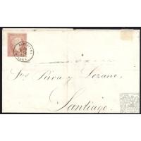 MALAGA. 1859. ESPAÑA. SPAIN. 4 CUARTOS. ED. 48. ANTEQUERA A SANTIAGO.