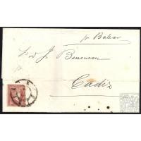 MALAGA. 1859. ESPAÑA. SPAIN. 4 CUARTOS. ED. 48. MALAGA A CADIZ.