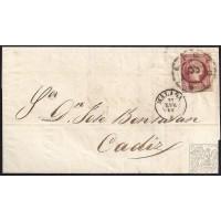 MALAGA. 1860. ESPAÑA. SPAIN. 4 CUARTOS. ED. 48. MALAGA A MADRID.