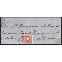 MALAGA. 1860. ESPAÑA. SPAIN. 4 CUARTOS. ED. 48. VELEZ-RUBIO A ALMERIA.