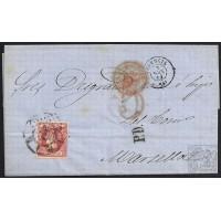 VALENCIA. 1860. ESPAÑA. SPAIN. 12 CUARTOS. ED. 53. VALENCIA A MARSELLA. MARSEILLE. FRANCIA. FRANCE.