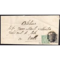 ZARAGOZA. 1874. ESPAÑA. SPAIN. 10 CTS. Y 5 CTS. IMPUESTO DE GUERRA. ED. 133 Y 141. A VALLS.