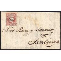 PONTEVEDRA. 1859. ESPAÑA. SPAIN. 4 CUARTOS. ED. 48. CALDAS DE REIS A SANTIAGO.