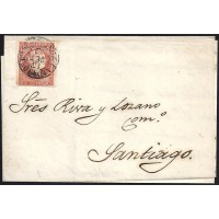 PONTEVEDRA. 1859. ESPAÑA. SPAIN. 4 CUARTOS. ED. 58. CALDAS DE REIS A SANTIAGO.
