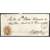 TERUEL. 1860. ESPAÑA. SPAIN. 4 CUARTOS. ED. 52. TERUEL A BARCELONA.