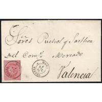 TERUEL. 1864. ESPAÑA. SPAIN. 4 CUARTOS. ED. 64. MORA A VALENCIA.
