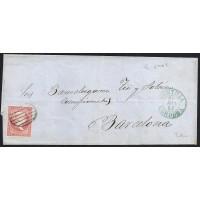 CORDOBA. 1857. ESPAÑA. SPAIN. 4 CUARTOS. ED. 48. MONTILLA A BARCELONA.