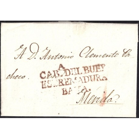 1818. ESPAÑA. SPAIN. CABEZA DEL BUEY A MERIDA.