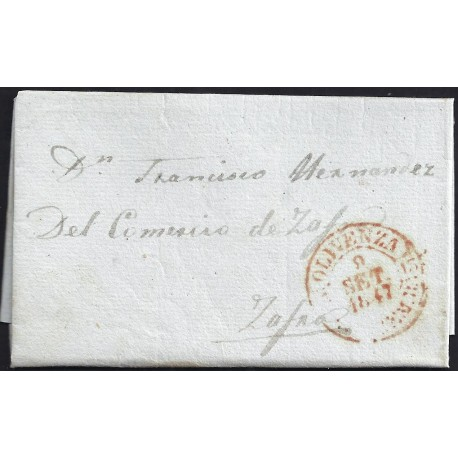 1847. ESPAÑA. SPAIN. OOLIVENZA A ZAFRA.