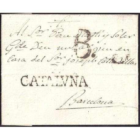 1800. ESPAÑA. SPAIN. CASTELLO DE AMPURIES A BARCELONA.