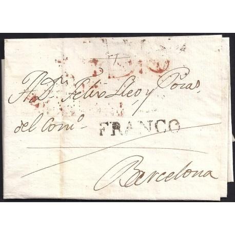 1820. ESPAÑA. SPAIN. LLEIDA A BARCELONA.