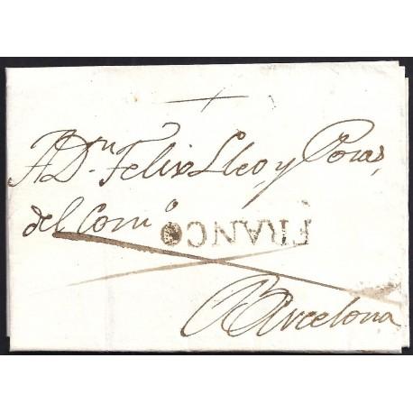 1819. ESPAÑA. SPAIN. LLEIDA A BARCELONA.