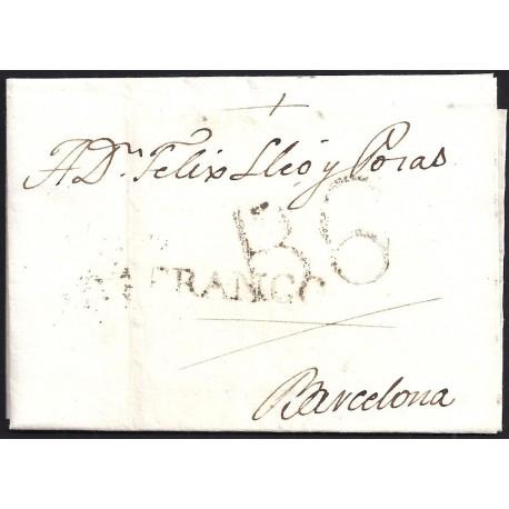 1817. ESPAÑA. SPAIN. LLEIDA A BARCELONA.