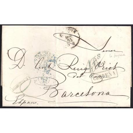 1855. ESPAÑA. SPAIN. GENOVA A BARCELONA.