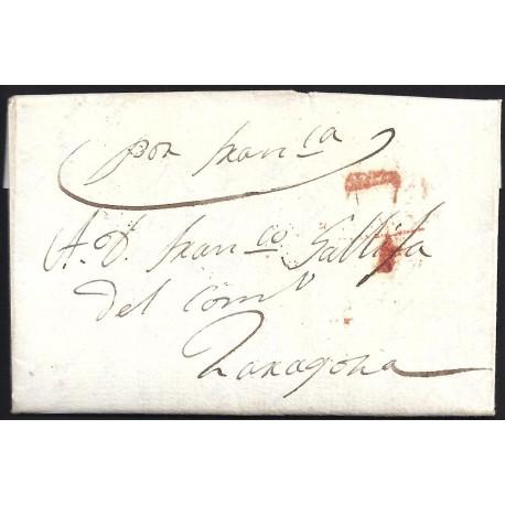 1839. ESPAÑA. SPAIN. BARCELONA A ZARAGOZA.