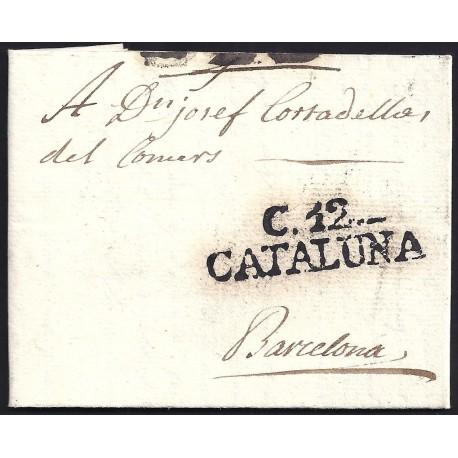 1803. ESPAÑA. SPAIN. CASTELLO DE AMPURIES A BARCELONA.