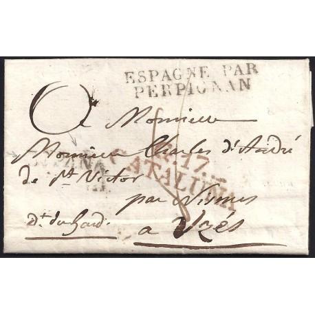 1825. ESPAÑA. SPAIN. GIRONA A FRANCIA.