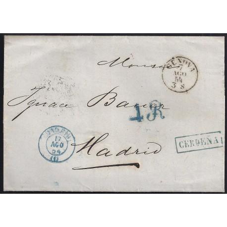 1854. ESPAÑA. SPAIN. GENOVA A MADRID.