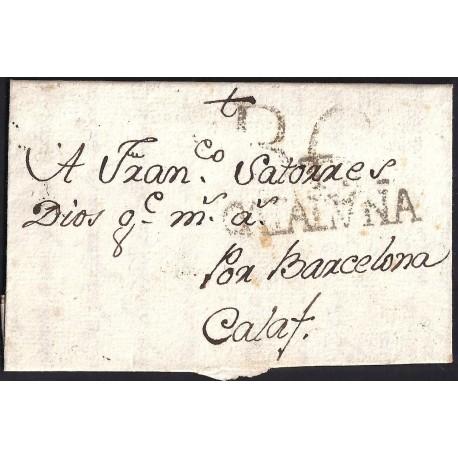 1781. ESPAÑA. SPAIN. TORTOSA A CALAF.