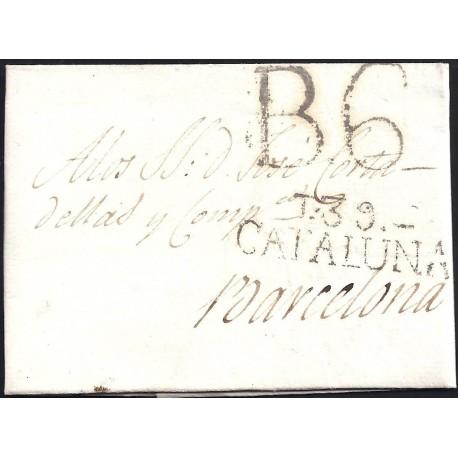1816. ESPAÑA. SPAIN. TARRAGONA A BARCELONA.