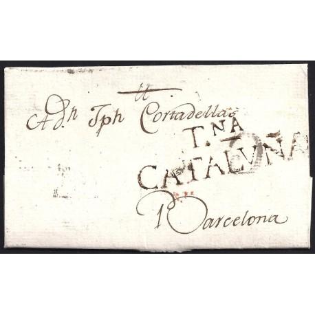 1797. ESPAÑA. SPAIN. TARRAGONA A BARCELONA.