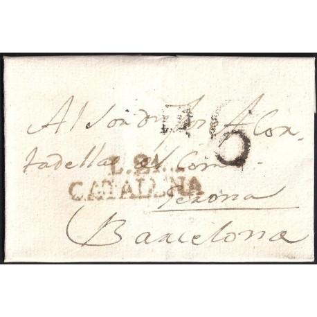1806. ESPAÑA. SPAIN. PALAMÓS A BARCELONA.