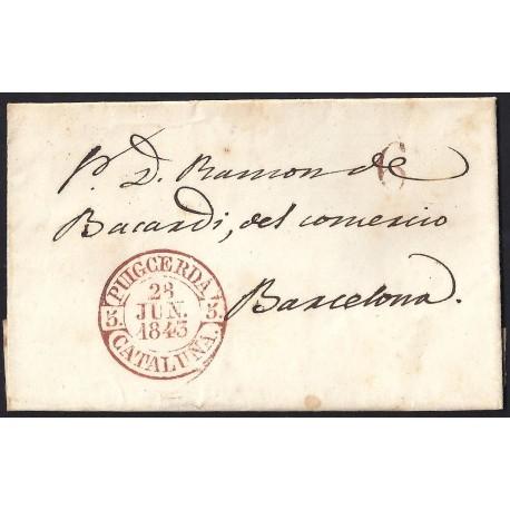 1843. ESPAÑA. SPAIN. PUIGCERDA A BARCELONA.