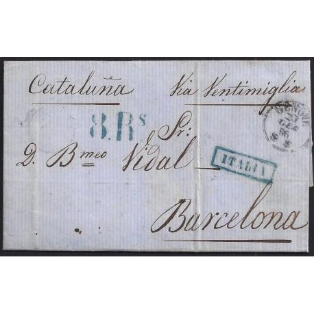 1866. ESPAÑA. SPAIN. GENOVA A BARCELONA.