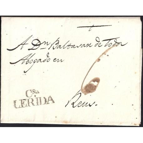 1820. ESPAÑA. SPAIN. LLEIDA A REUS.