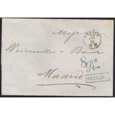 1855. ESPAÑA. SPAIN. GENOVA A MADRID.