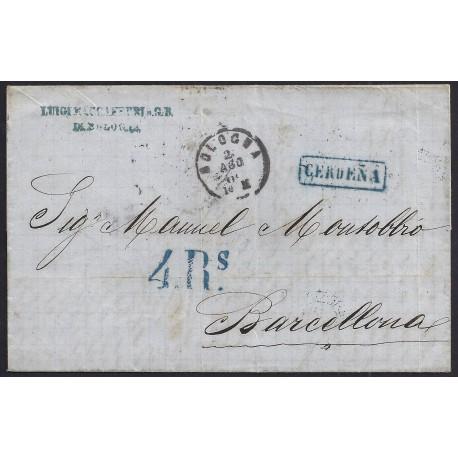 1864. ESPAÑA. SPAIN. BOLOÑA A BARCELONA.