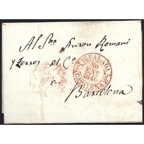 1846. ESPAÑA. SPAIN. CAPELLADES A BARCELONA.
