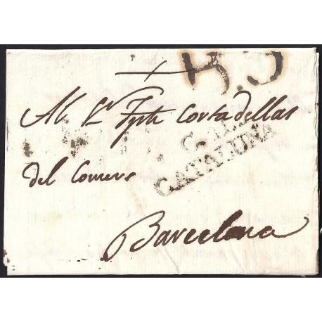 1804. ESPAÑA. SPAIN. CARDONA A BARCELONA.