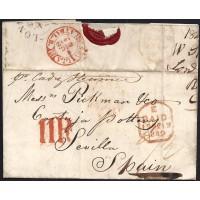 CORREO MARITIMO. 1842. ESPAÑA. SPAIN. LONDON. LONDRES A SEVILLA.