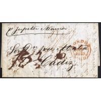 CORREO MARITIMO. 1847. ESPAÑA. SPAIN. LONDON. LONDRES A CADIZ.